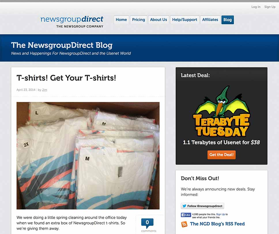 Screen capture of NewsgroupDirect's Blog